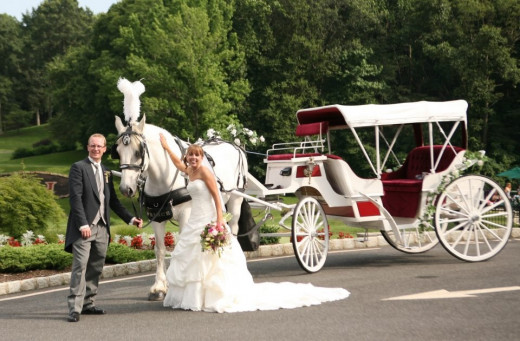 Bride and Groom With Horse Drawn Carriage
