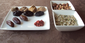 A typical vegan meal, with dried fruits, walnuts, and other nuts