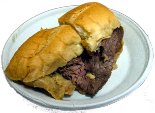 Basic French Dip sandwich.