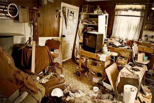 Hoarding warning signs: cluttered living spaces, inability to discard items, difficulty managing daily tasks, poor organization, shame or embarrassment, limited or no social activities.