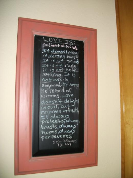 Raised panel door with chalkboard paint
