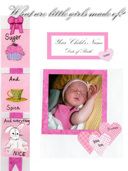 I've edited out the name and date but this is the page I used for my second daughter's baby book.