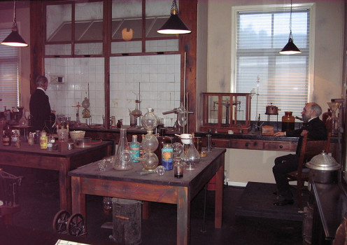 A reconstruction of the laboratory of Alfred Nobel.