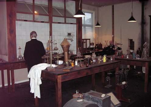The laboratory in which Alfred Nobel first developed dynamite, reconstructed at the Nobel Museum.