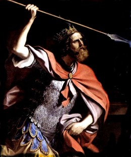 King Saul with a spear