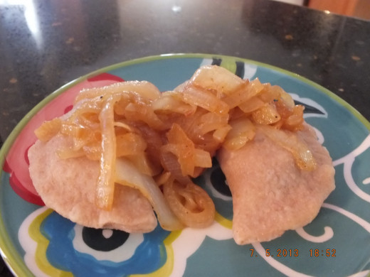 Here are the pierogis! Just like Grandma and Great Grandma used to make. Of course they used white flour.