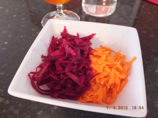 I grated the raw beets and a raw carrot for a yummy salad to go along with the pierogis.