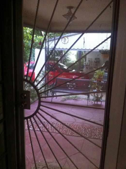 A heavy-duty security door.