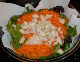 Walla Walla onions are great in this salad. They are mild and sweet.
