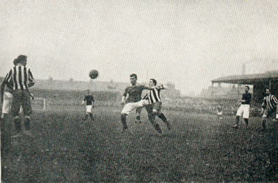 Action during Woolwich Arsenal's first FA Cup semi-final appearance. Newcastle won the 31 March, 1906, match by a score of 2-0.