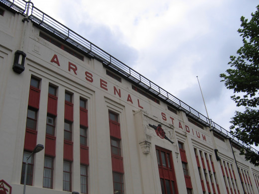 The facade of the Arsenal Stadium at the team's home in Highbury.