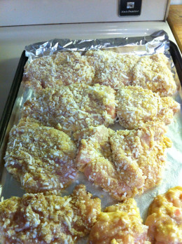 Place each chicken breast onto the foil on the baking sheet