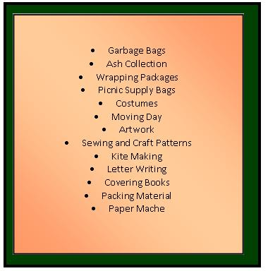 List of Possible Uses for Brown Paper Grocery Bags.