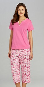 Karen Neuburger Paradise Cove Short-Sleeve Tee & Bird Print Capris Sleep Set / Dillards