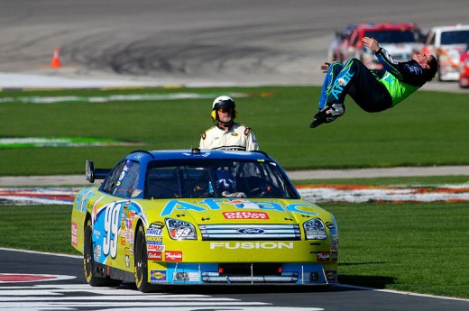 Winning is a great moment for any driver.  Carl Edwards always celebrates with a back flip.