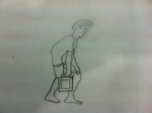 Proper Lifting - Back Straight, Knee bent, object close to the body, opposite hand on bent knee
