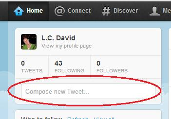 The home page of your twitter account should have a compose box.