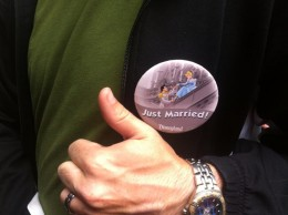 """""""Just Married"""" buttons given out for free at Disneyland and California Adventure in Anaheim, Calfornia"""