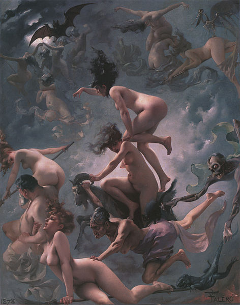 Witches flying going to their sabbath.