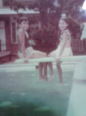 At the swimming pool, penpals Tina(this writer) and Nancy (on right) in summer 1967.
