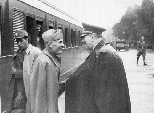 Adolf Hitler Greeting a Soldier