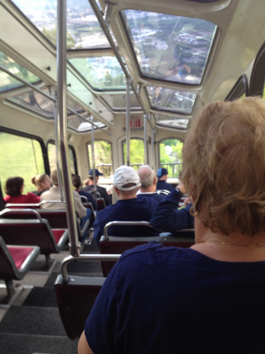 INSIDE THE INCLINE CAR - SITTING AT ABOUT A 72 DEGREE ANGLE