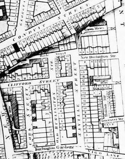 Savile Row (then called Savile Street) as shown on the 1819 edition of Richard Horwood's map of London.