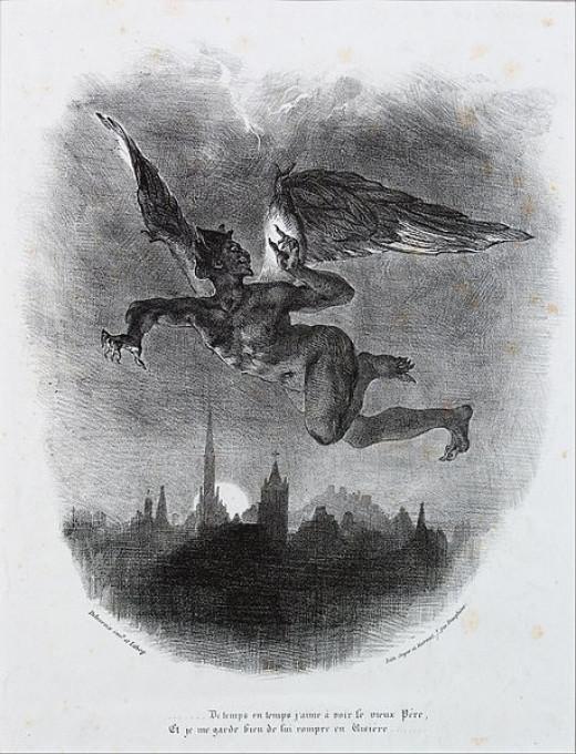 Mephistopheles in the Sky, Eugene Delacroix