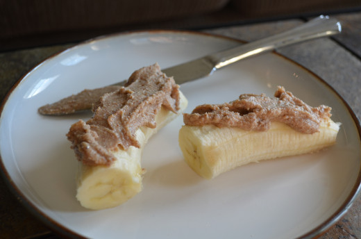Almond-Cashew Butter on Banana. A delicious combo!