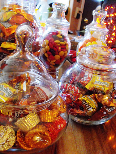 Apothecary Jars full of candy