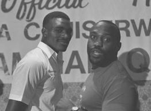 Evander Holyfield and Dwight Qawi at a preflight press conference before their title tilt. Qawi was the champion before this bout took place in 1986.