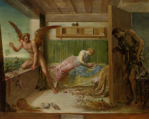 George Frederick Watts (1817-1904) When poverty comes in at the door love flies out the window