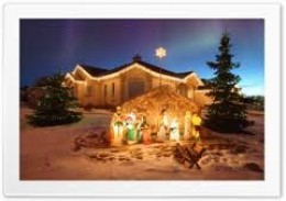 This beautiful house decided to focus on the nativity scene as their decoration. It's gorgeous!