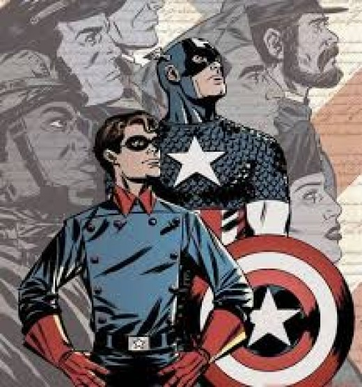 Bucky and Cap gaze patriotically into the sunset.