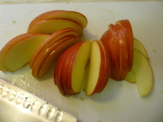 Sliced Gala apple being readied for this recipe.
