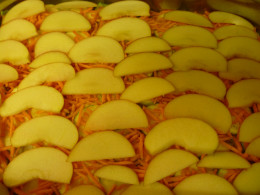 Apple slices layered over the shredded carrots in this photo.