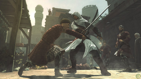Altaïr in battle with one of the guards