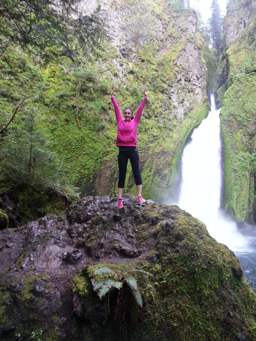 "TJ's wife on the Wahclella falls ""pride rock"""