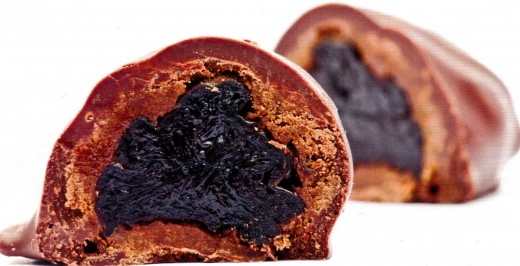 other variation when prune is not mixed with nuts, but rolled in them many times and at the end covered with  chocolate
