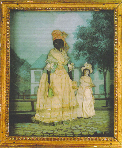According to Wikimedia Commons, the woman and child in this late 18th century portrait were presumably posed in front of their home.