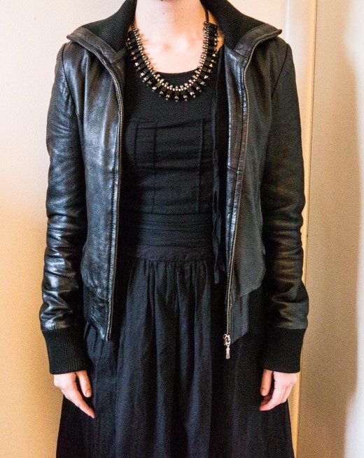 Go edgy with leather and statement jewellery