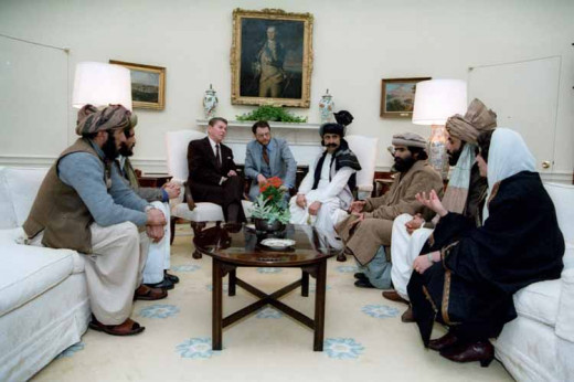 President Reagan meeting with members of the mujahideen. In later years, the title would be near synonymous with terrorist.