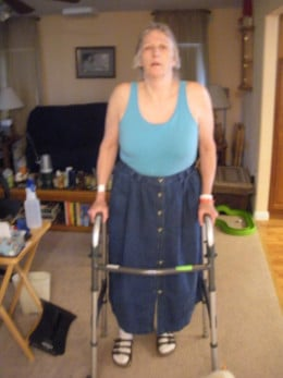 Using a walker at home.