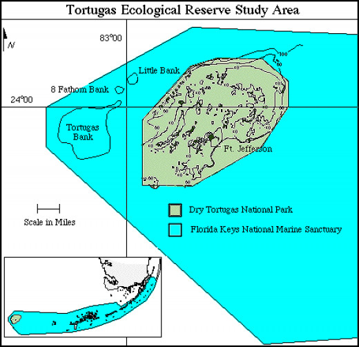 Tortugas Bank is furthest west and is totally submerged.