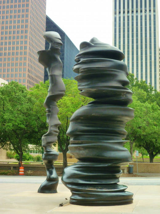 "This ""In Minds"" sculpture is pictured with Tranquility Park seen as a backdrop in downtown Houston, Texas"
