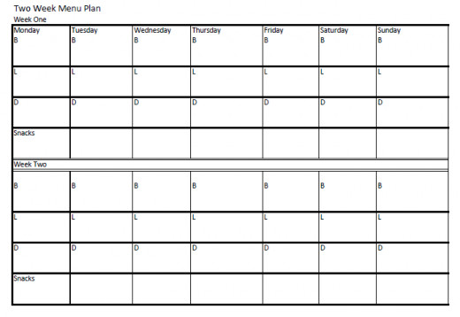 A menu plan chart such as this can easily be made using Microsoft Excel