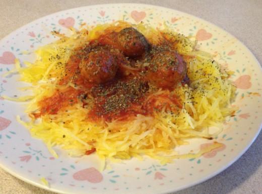 Mock Spaghetti and Meatballs Dinner