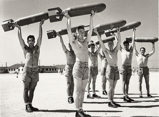 Calisthenics was very popular during the War years
