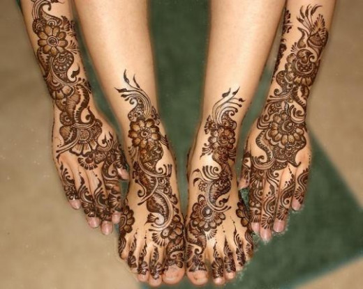 Traditional Wedding Henna On Feet And Hands