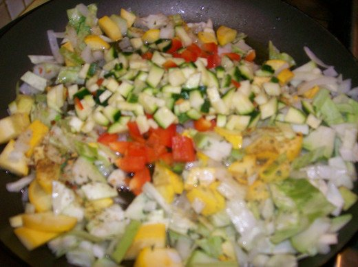 Sauteing chosen vegetables